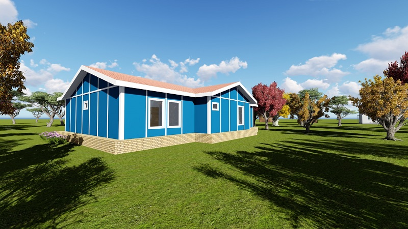 backside bluehouse prefabricated home