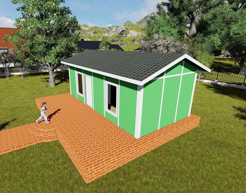 Green cabin prefab