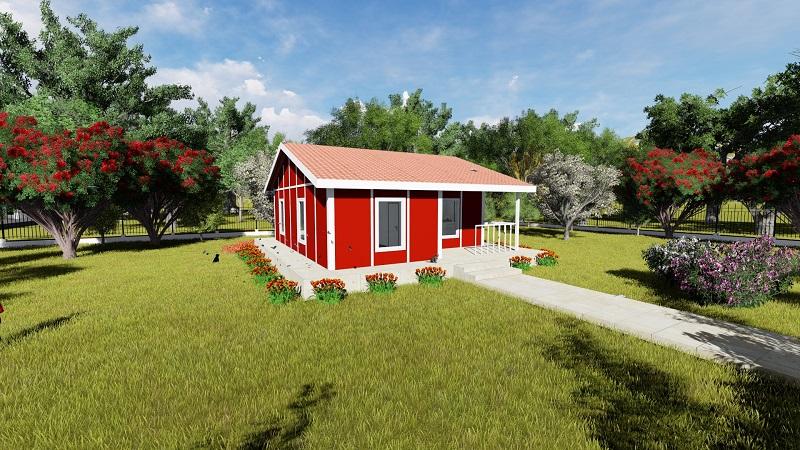 red house prefab house
