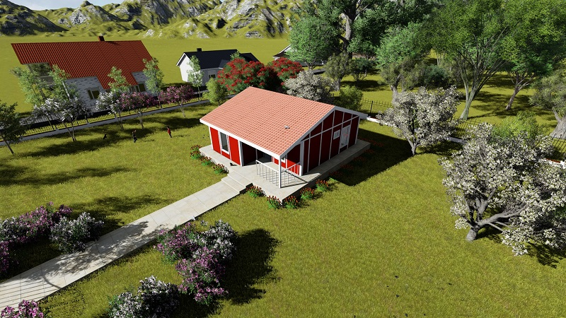 red house prefabricated homes