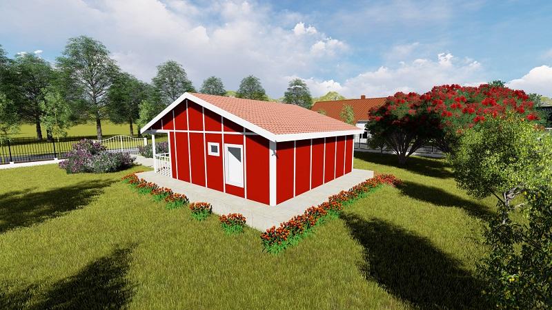 red house prefab house backside
